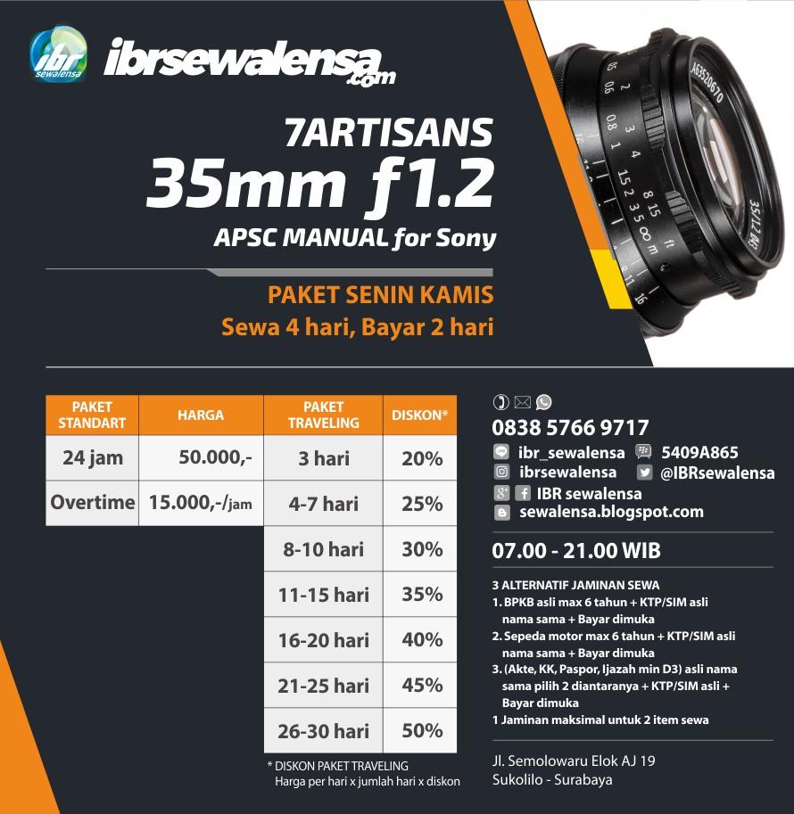 sony fix 7artisans 35mm f12 Harga Sewa Rental Flash Surabaya, IBR sewalensa, Sewa kamera, Sewa Lensa, Rental Kamera, Rental Lensa, Jakarta, Bandung, Semarang, Yogyakarta, Surabaya